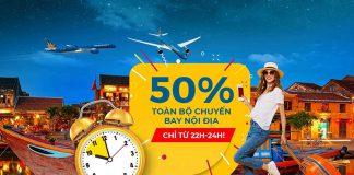 Khuyến mãi Vietnam Airlines giảm 50% nội địa Mid – Night Sales