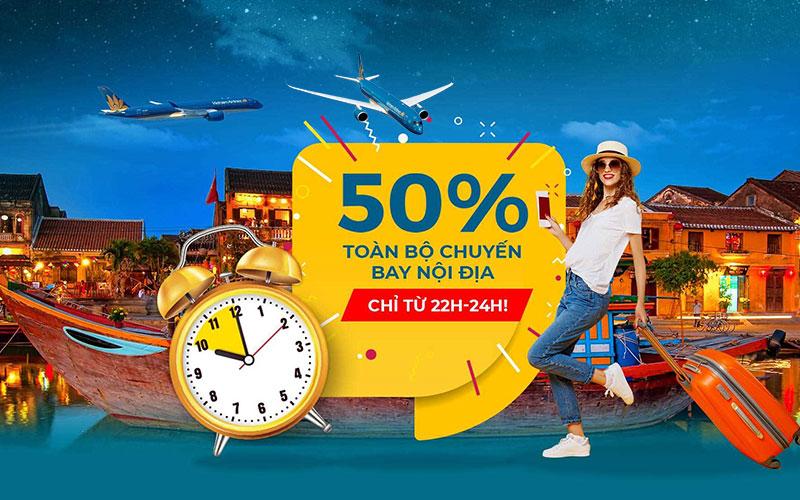 Khuyến mãi Mid – night Sales giảm 50% giá vé nội địa từ Vietnam Airlines