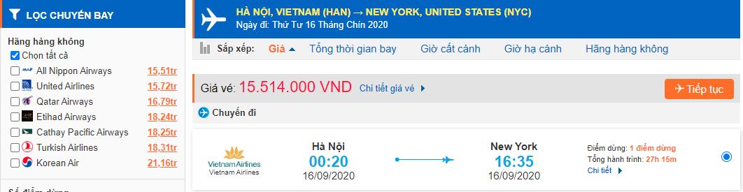 Tham khảo giá vé máy bay đi Mỹ