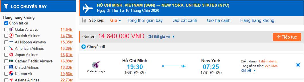 Vé máy bay Hồ Chí Minh đi New Yourk