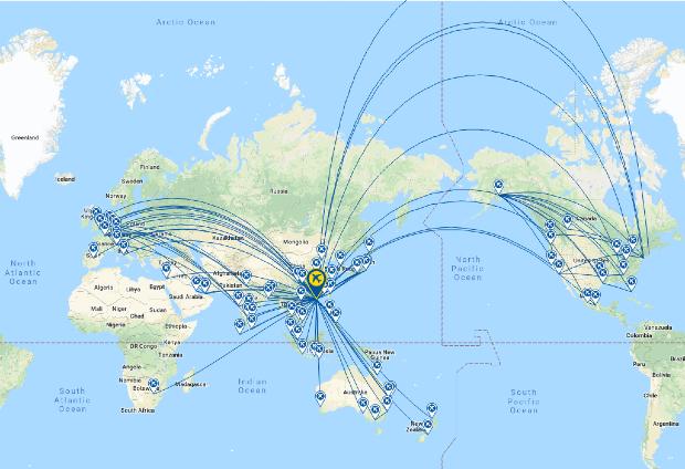 Mạng lưới đường bay của hãng hàng không Cathay Pacific