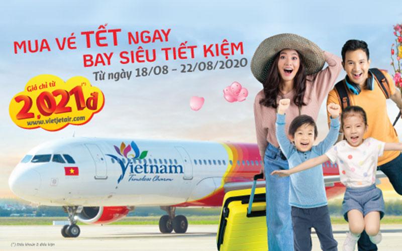 Vietjet khuyến mãi vé máy bay Tết siêu tiết kiệm chỉ từ 2.021 đồng