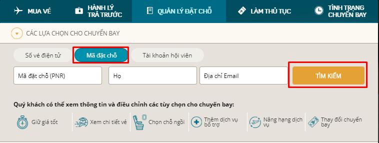 Kiểm tra code vé máy bay thông qua website