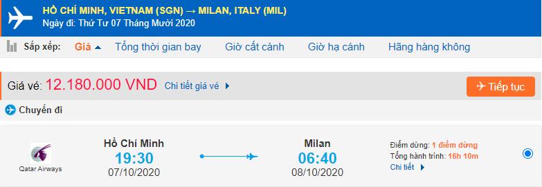 Vé máy bay Hồ Chí Minh đi Milan Qatar Airways