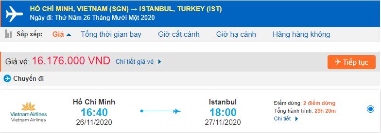 Vé máy bay đi Thổ Nhĩ Kỳ từ Hồ Chí Minh Vietnam Airlines