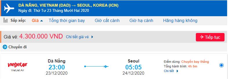 Vé máy bay đi xuất khẩu lao động Hàn Quốc từ Đà Nẵng