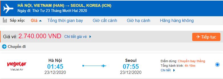Vé máy bay đi xuất khẩu lao động Hàn Quốc từ Hà Nội