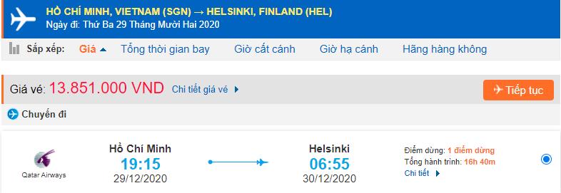 Vé máy bay đi Phần Lan giá rẻ của Qatar Airways