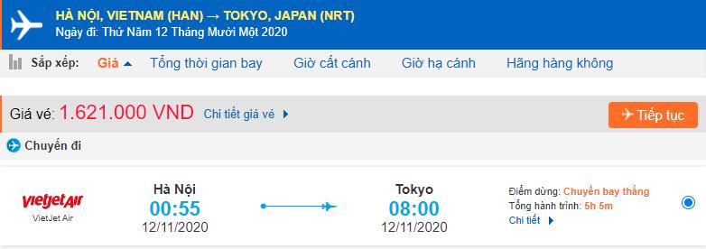 Vé máy bay Hà Nội đi Tokyo Vietjet Air