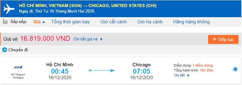 Giá vé máy bay đi Chicago từ Hồ Chí Minh All Nippon Airways
