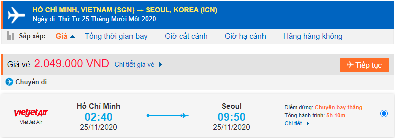Vé máy bay đi xuất khẩu lao động Hàn Quốc từ Hồ Chí Minh