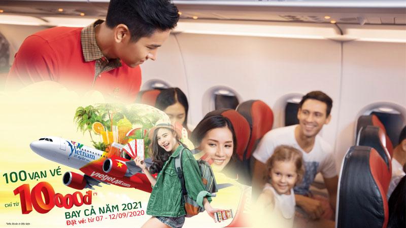 Vietjet Air khuyến mãi vé máy bay chỉ từ 10.000 VND chào thu vàng 2020