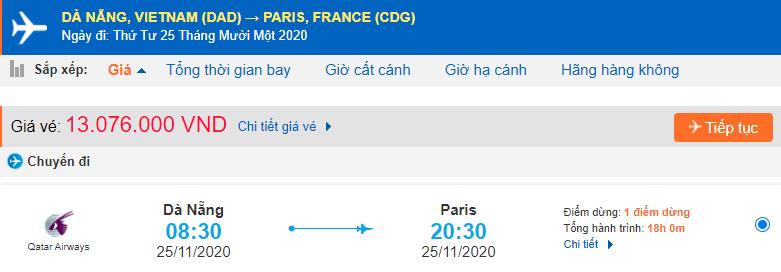 Vé máy bay đi Pháp từ Đà Nẵng