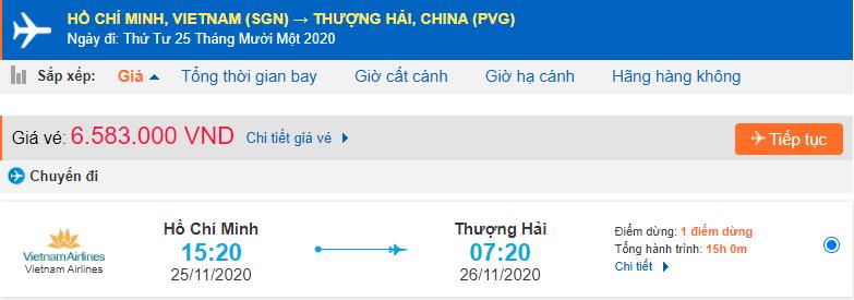 Vé máy bay đi Thượng Hải từ Hồ Chí Minh Vietnam Airlines