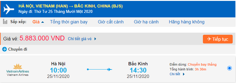 Vé máy bay đi du học Trung Quốc Vietnam Airlines