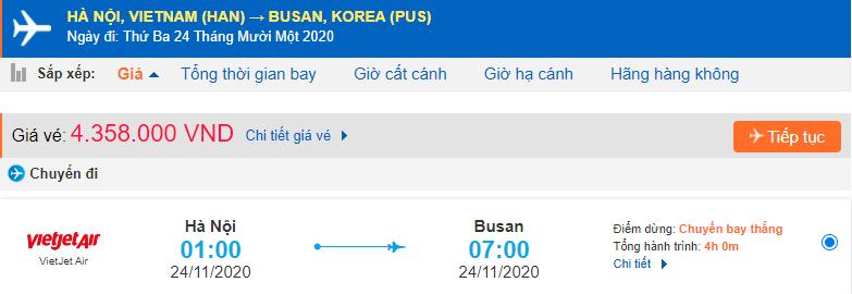 Vé máy bay đi Busan Vietjet Air từ Hà Nội