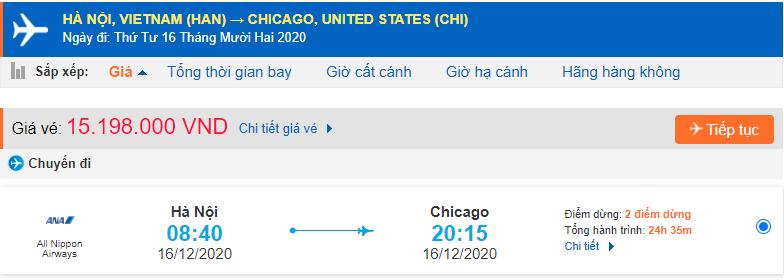 Giá vé máy bay đi Chicago từ Hà Nội
