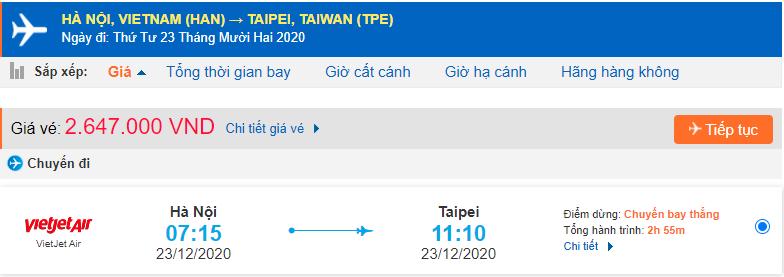 Vé máy bay xuất khẩu lao động Đài Loan từ Hà Nội
