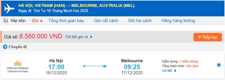 Giá vé máy bay đi Melbourne từ Hà Nội