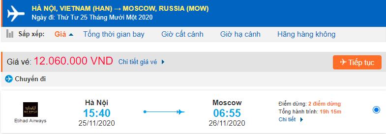 Vé máy bay đi du học Nga Etihad Airways