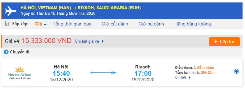 Giá vé máy bay Hà Nội đi Riyadh Vietnam Airlines