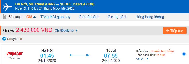 Vé máy bay đi Seoul Vietjet Air từ Hà Nội