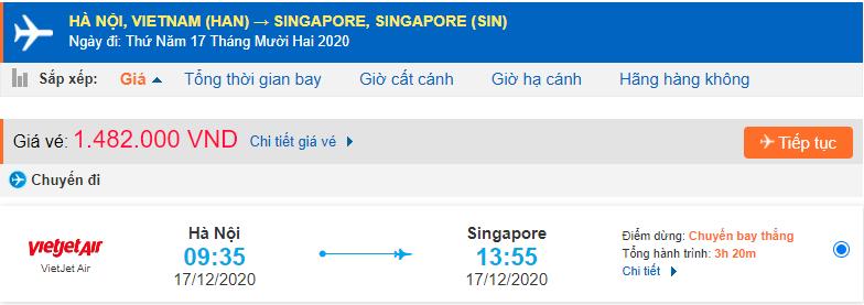 Vé máy bay đi du học Singapore Vietjet Air