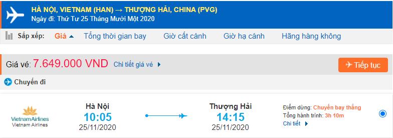 Giá vé máy bay đi Thượng Hải du học từ Hà Nội