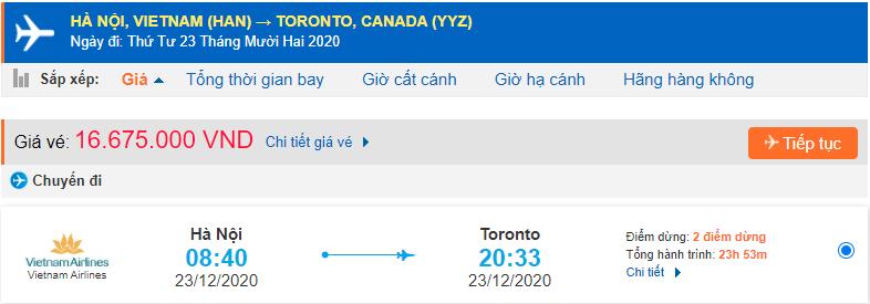 Vé máy bay đi Canada từ Vietnam Airlines