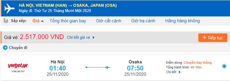 Vé máy bay Hà Nội đi Osaka