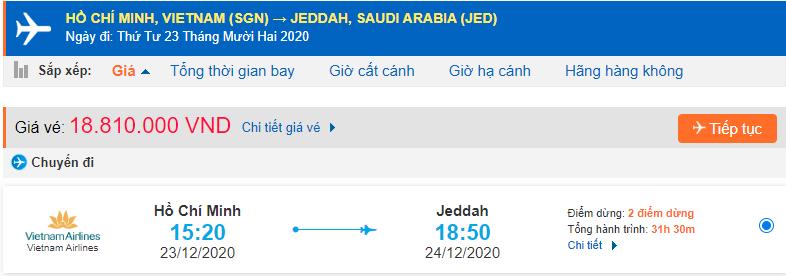 Vé máy bay đi Jeddah từ Hồ Chí Minh Vietnam Airlines