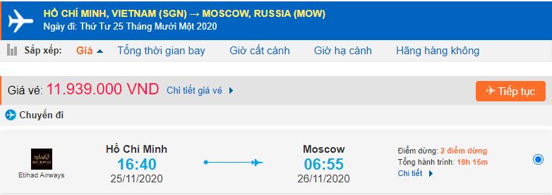 Vé máy bay đi Nga từ Hồ Chí Minh Etihad Airways