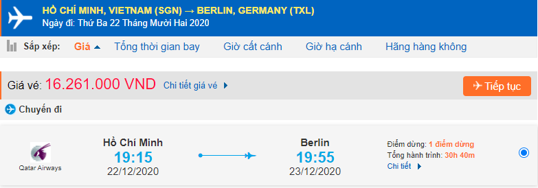 Vé máy bay đi Đức Qatar Airways