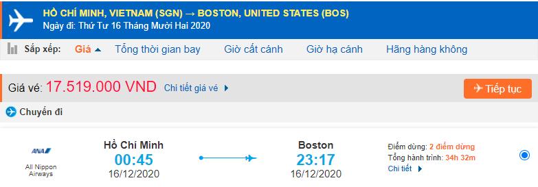 Vé máy bay đi Boston từ Hồ Chí Minh All Nippon Airways