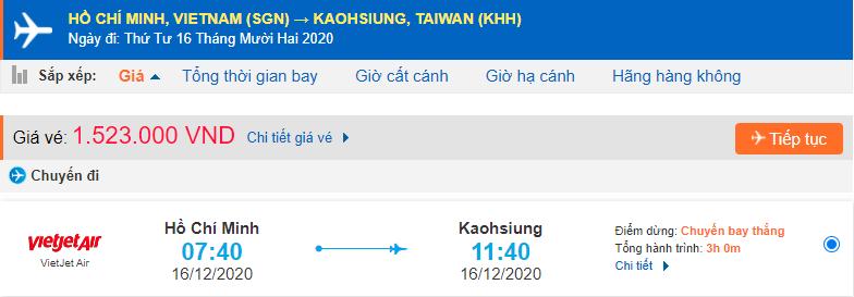 Vé máy bay đi Cao Hùng từ Hồ Chí Minh