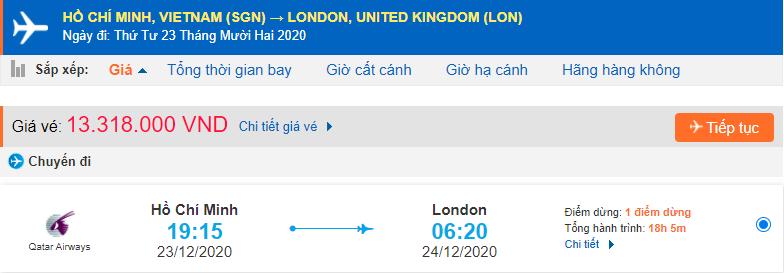 Vé máy bay từ Hồ Chí Minh đi Anh Qatar Airways