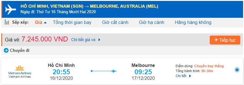 Vé máy bay đi Melbourne từ Hồ Chí Minh