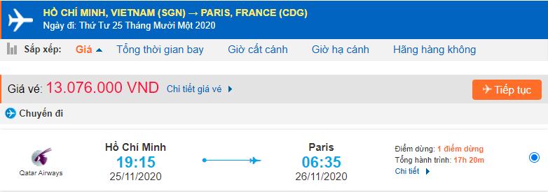 Vé máy bay đi Pháp từ Hồ Chí Minh Qatar Airways