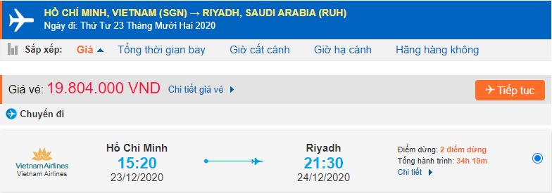 Vé máy bay đi xuất khẩu lao động Ả Rập Xê Út từ Hồ Chí Minh