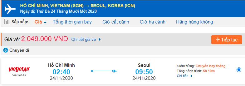 Vé máy bay đi Seoul Vietjet Air từ Hồ Chí Minh