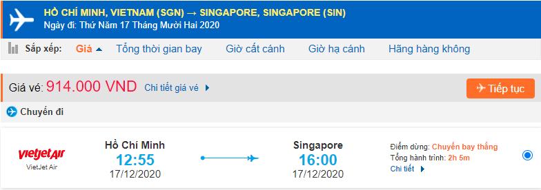 Vé máy bay Hồ Chí Minh đi Singapore Vietjet Air