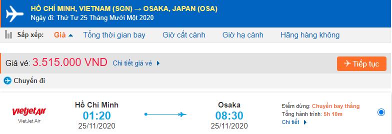 Vé máy bay Hồ Chí Minh đi Osaka