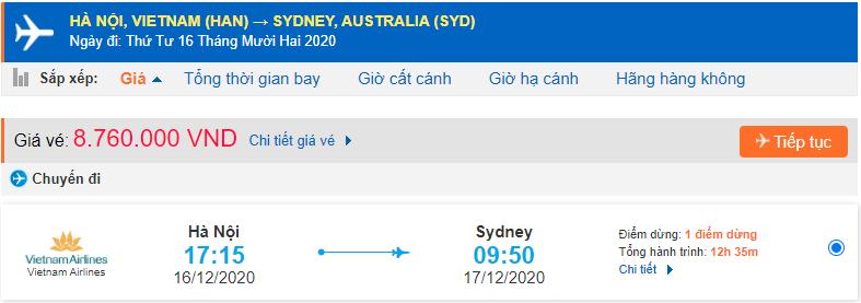 Vé máy bay đi Sydney từ Hà Nội Vietnam Airlines