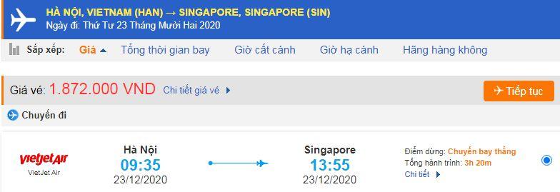 Vé máy bay xuất khẩu lao động Singapore từ Hà Nội