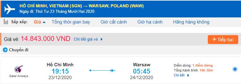 Vé máy bay đi Ba Lan từ Hồ Chí Minh