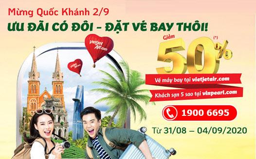 Khuyến mãi Quốc khánh 2/9 Vietjet giảm 50% giá vé máy bay khách sạn