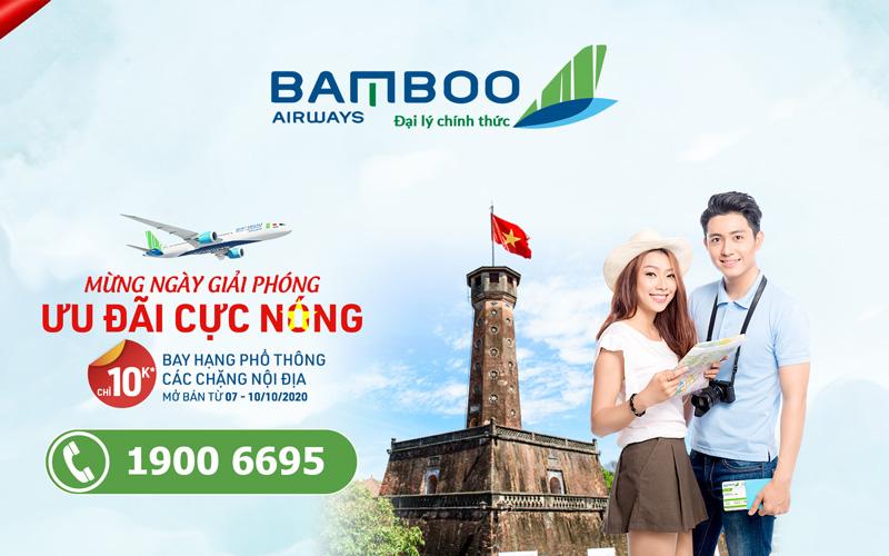 Bamboo Airways khuyến mãi đồng giá 10.000 VND mừng giải phóng Thủ đô