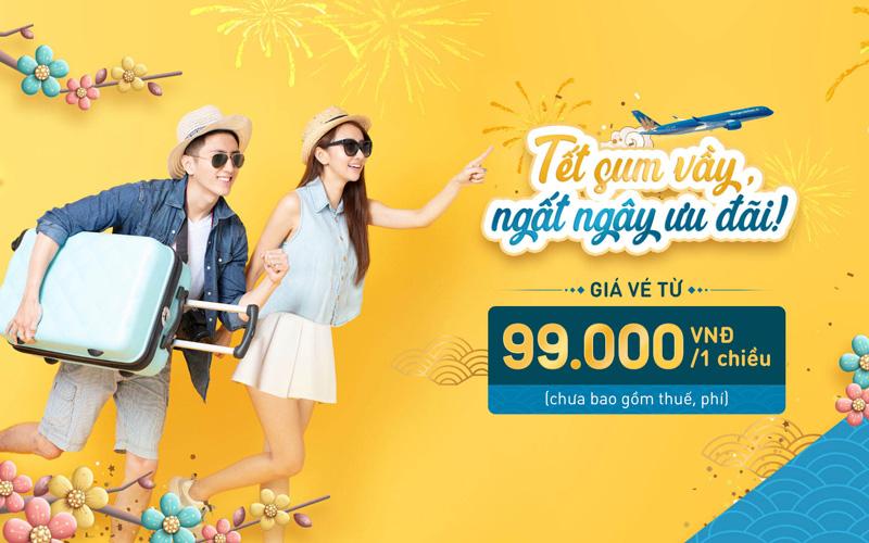 Vietnam Airlines khuyến mãi vé máy bay Tết 2021 chỉ từ 99.000 VND