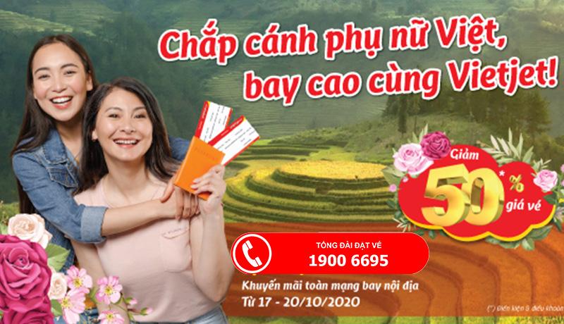 Khuyến mãi 50% từ Vietjet Air mừng ngày phái đẹp 20/10
