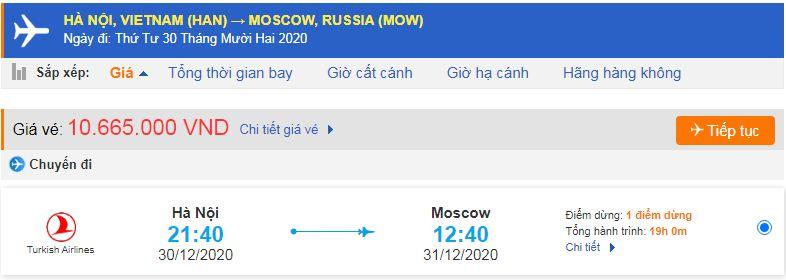 Vé máy bay đi xuất khẩu lao động Nga từ Hà Nội